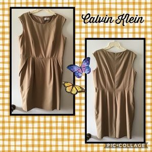 59 CALVIN KLEIN▪️Beige Tan Sleeveless Dress